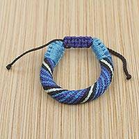 Men's wristband bracelet, 'Krobo Kindness' - Blue Cord Bracelet for Men Artisan Crafted in Ghana