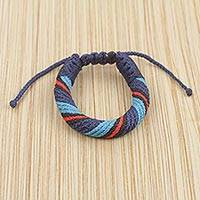 Men's wristband bracelet, 'Krobo Truth' - Colorful Men's African Cord Style Bracelet from Ghana