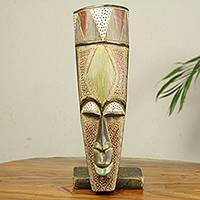 African wood mask, 'Abiye' - Hand Carved African Wood Mask with Aluminum Accents