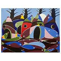 'Fishing Village' - Original African Cubist Painting of Fishing Village in Ghana