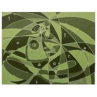 'Motherhood' - Cubist Painting of Mother and Child in Green Color Palette