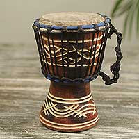 Wood mini djembe drum, 'Little Brown' - 8-inch Handcrafted Brown Wood Djembe Drum