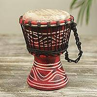 Wood mini djembe drum, 'Little Red' - Authentic African Handcrafted Red Djembe Drum