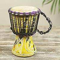 Wood mini djembe drum, 'Little Yellow' - Yellow Hand Carved Petite Djembe Drum 8 Inches