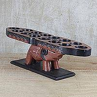 Wood game, 'Elephant Oware' - Elephant-Themed Wood Oware Game from Ghana