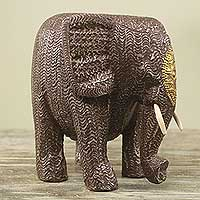 Wood statuette, 'Mighty African Elephant' - Artisan Crafted Elephant Sculpture Aluminum on Wood