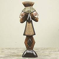 Wood sculpture, 'Shango' - African Yoruba Storm Deity Wood Sculpture Carved by Hand