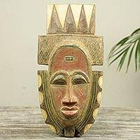 African wood wall mask, 'Fia' - African Tribal Chief Wood Wall Mask Carved by Hand