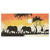 'Sunset in the Wild III' - Signed Original Painting of Elephant Wildlife in Africa