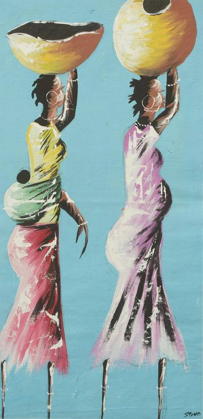 'A Daily Affair' - Original African Painting of Women Fetching Water