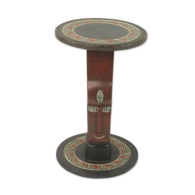 Wood accent table, 'African Prince' - Mask Theme Handmade Sese Wood Circular Accent Table