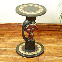 Wood accent table, 'Queen of Africa' - Handmade African Accent Table with Carved Details