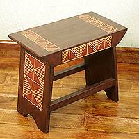 Wood ottoman stool, 'African Heritage' - Handcrafted African Sese Wood Stool