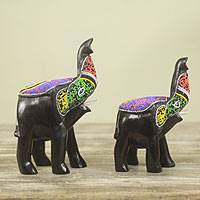 Wood sculptures, 'Proud African Elephants' (pair) - Hand Carved Beaded Wood Elephant Sculptures (Pair)
