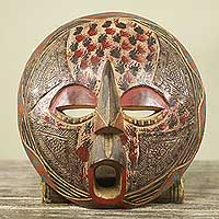 African mask, 'Queen of My Heart' - Circular Artisan Carved African Mask