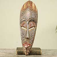 African wood mask, 'Odo Nfase' - Antiqued African Wood Mask with Aluminum Details
