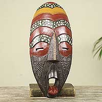 African mask, 'Love is Sweet' - Multicolor Hand Carved Original African Wood Mask