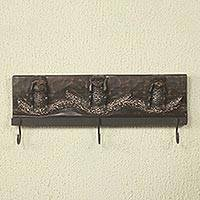 Wood coat rack, 'Three Wise Monkeys I' - Artisan Crafted Wood and Aluminum Monkey Theme Coat Rack