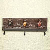 Wood coat rack, 'Three Wise Monkeys II' - Monkey Theme Coat Rack Artisan Crafted Wood and Aluminum