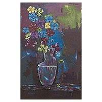'Flowers' - Still Life with Flowers in Blue and Purple