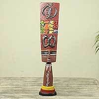 Wood sculpture, 'Adinkra Doll' - Original African Wood Sculpture with Adinkra Symbols