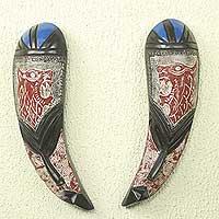 African wood masks, 'Shakpa' (pair) - African Tiger Wall Masks Hand-carved Fang Shape (Pair)