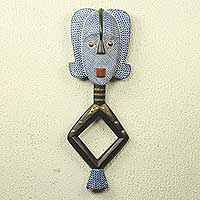 African wood mask, 'Blue Bakota' - African Tribal Reliquary Wall Mask Carved by Hand
