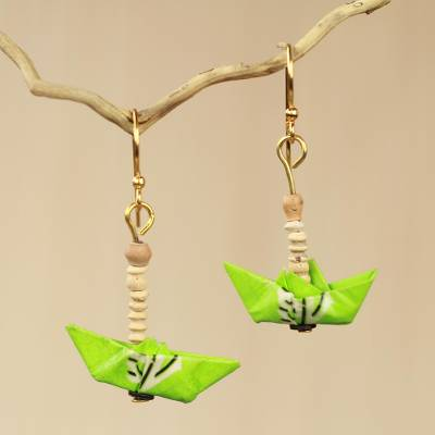 Recycled paper and terracotta dangle earrings, 'Green Boats' - Fair Trade Jewelry Recycled Paper and Bead Earrings