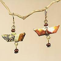 Recycled paper and wood dangle earrings, 'Tema Harbor' - Recycled Paper Sailboat Earrings Crafted by Hand