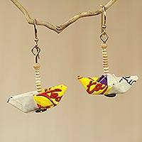 Recycled paper and terracotta dangle earrings, 'Yellow Boats' - Recycled Paper Sailboat Earrings Crafted by Hand in Ghana