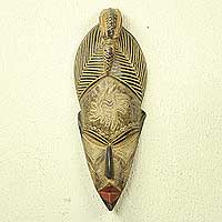 African wood mask, 'Peace and Harmony' - Authentic Ghanaian Artisan Carved African Mask