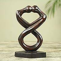 Wood sculpture, 'Medofo Pa' - Infinite Lovers Hand Carved Wood Sculpture from Ghana