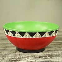 Wood centerpiece, 'Village Sunshine' - Red and Green Handcrafted Wood Centerpiece from Africa