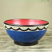 Wood centerpiece, 'Asanka Blue' - Hand Carved Red and Blue Wood Centerpiece