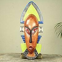 African wood mask, 'Ghana Queen Mother' - Modern Blue and Yellow Authentic African Mask