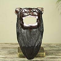 African wood mask, 'Fierce Lion' - Hand Carved Black Lion African Mask
