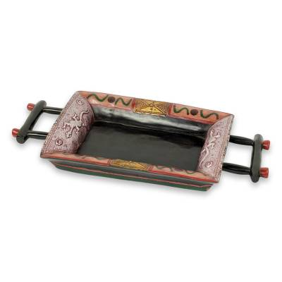 Embossed African Decorative Tray in Wood and Aluminum