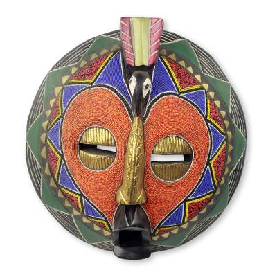 African beaded mask, 'Akoma Bird' - Hand Crafted African Beaded Mask Heart Shaped
