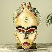 African wood mask, 'Natural Beauty' - Artisan Crafted African Mask Carved from Wood