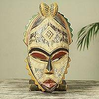 African wood mask, 'Akan Helper' - Textured Artisan Crafted Rustic African Mask