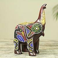 Wood sculpture, 'Beaded Brown Elephant' - Brass Inlay Beaded Wood African Elephant Sculpture