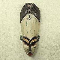 African wood mask, 'Elephant Blessing' - Elephant Theme Hand Carved African Mask
