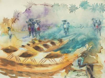 'Beach Market IV' - Signed Watercolor Painting of a Beach in Ghana