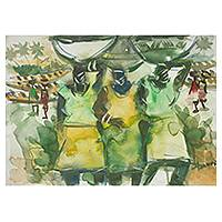 'Busy Day I' - African Watercolor Painting in Shades of Green