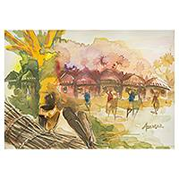 'Day of Rest III' - Village Scene from West Africa in Watercolor
