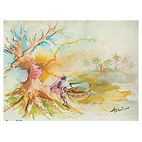 'Great Expectation V' - Signed Ghanaian Watercolor Landscape Painting