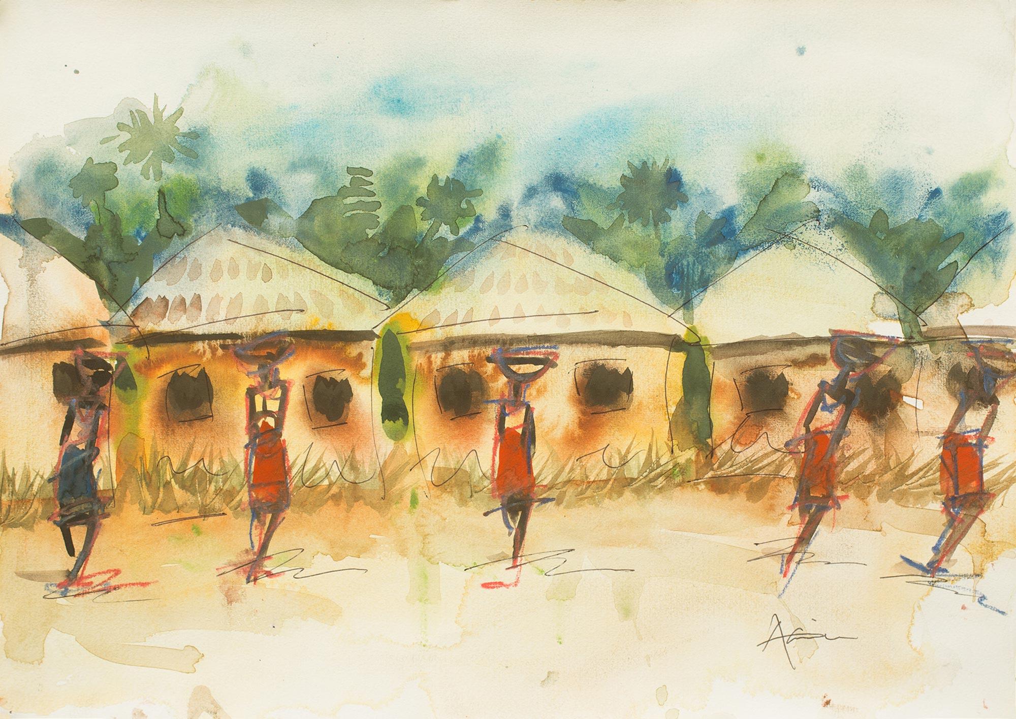 Unicef UK Market | Watercolor African Village Scene in ...