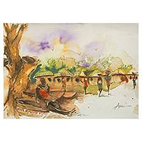 'Village Market' - Watercolor Painting of Ghanaian Village Women Signed Art