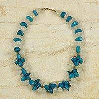 Agate beaded necklace, 'Sedinam' - African Blue and White Agate Beaded Necklace Crafted by Hand