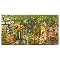 'Banana Bargain' - Ghanaian Banana Sale Impressionist Style Signed Painting
